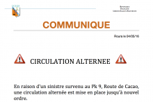 COMMUNIQUE URGENT – CIRCULATION ALTERNEE