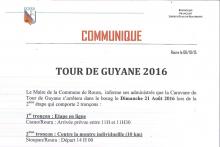 COMMUNIQUE TOUR DE GUYANE LE DIMANCHE 21 AOUT 2016 A ROURA