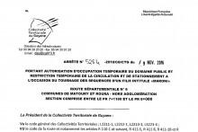 Arrêté n°5284-2016/CG/CTG du 9 novembre 2016
