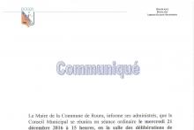 Communiqué du conseil municipal du mercredi 21 décembre 2016