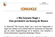 Communiqué : Ma Guyane nage