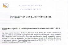 Inscription à la rentrée scolaire 2017/2018