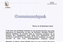 Réaction du Maire de Roura suite au décès du Sénateur honoraire G. OTHILY