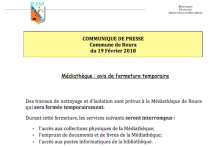 Médiathèque : Avis de fermeture temporaire