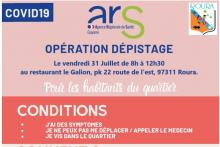 Opération dépistage le 31 juillet de 8h à 12h30 à Roura