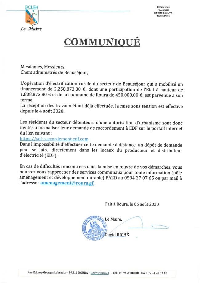COMMUNIQUE - ADMINITRES DE BEAUSEJOUR