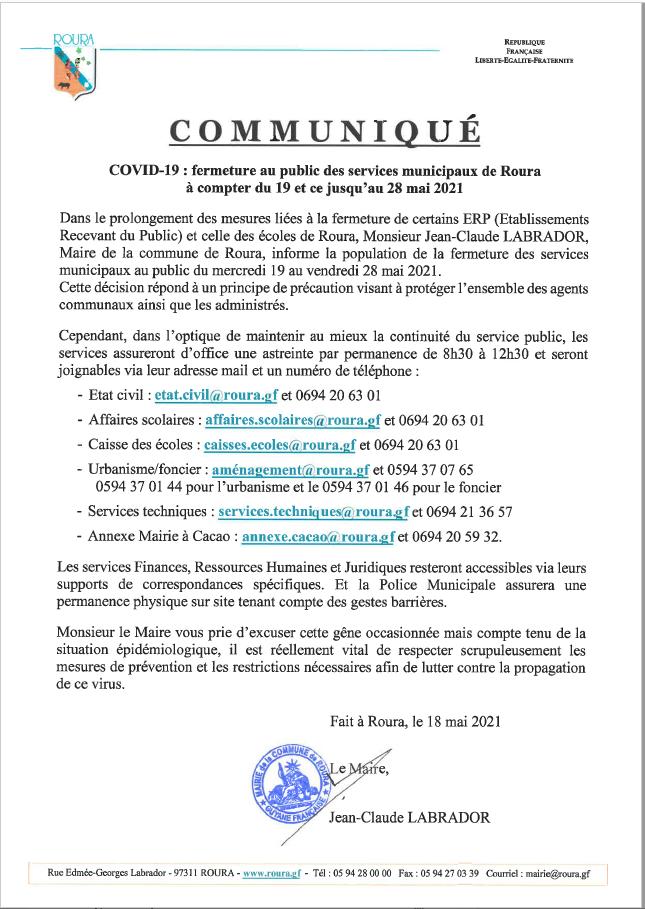 Fermeture des services municipaux de Roura