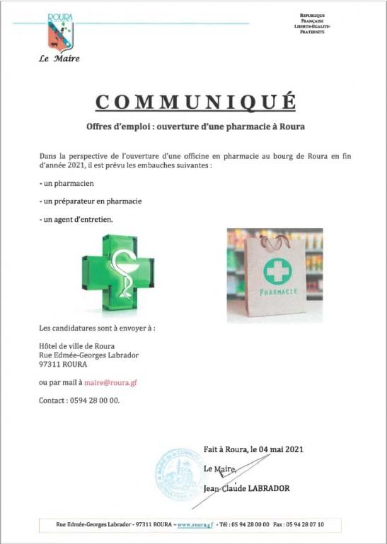 Offre d'emploi pharmacie