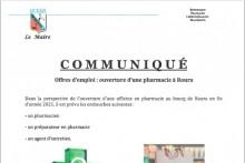 Offres d'emploi ouverture pharmacie Roura